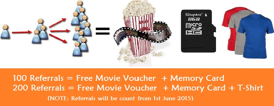 Refer 100 friends and get free movie voucher and memory card