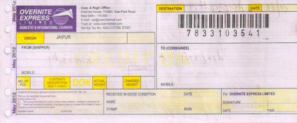 BRIJESH RAY's payment cheque courier slips
